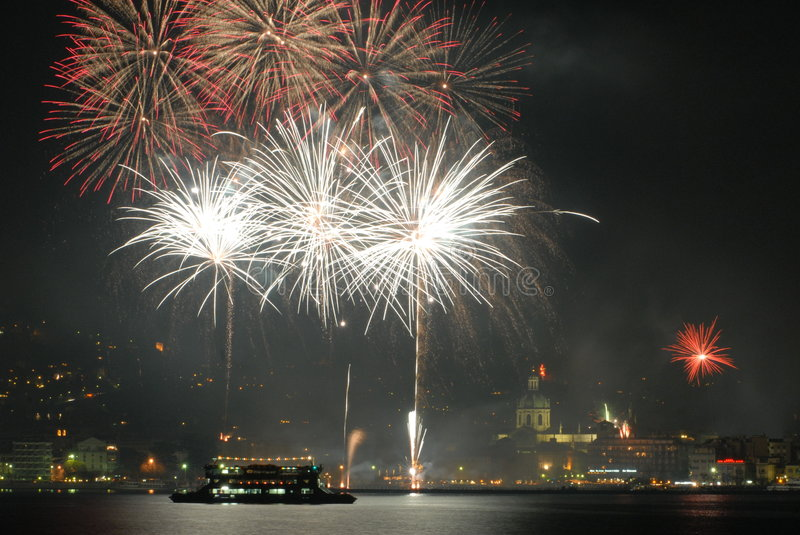Fireworks on Como royalty free stock images