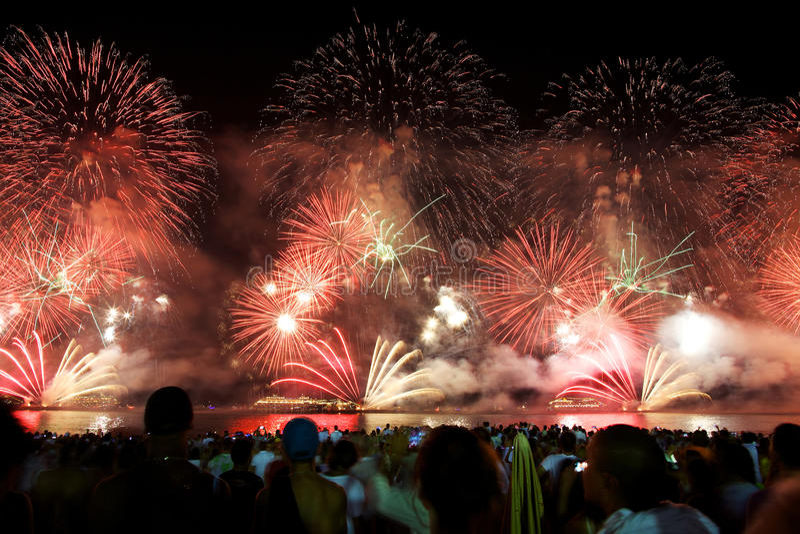Fireworks at Copacabana. Fireworks display at Copacabana beach new years eve royalty free stock photography