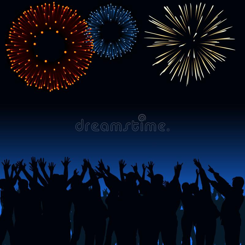Download Fireworks and Crowd stock vector. Image of anniversary - 26576526