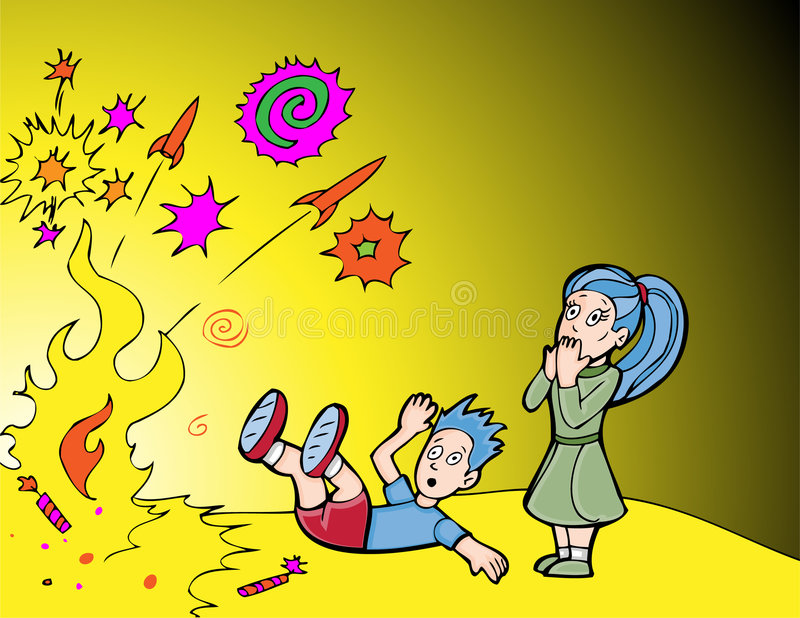 Fireworks are Dangerous. Children discovering the danger of playing with fireworks royalty free illustration