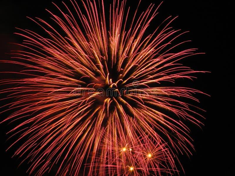 Fireworks in dark stock image