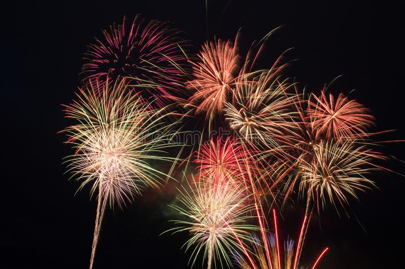 Color fireworks on a dark background stock photos