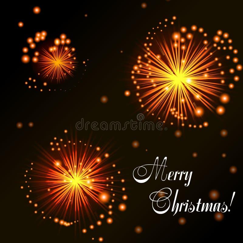 Fireworks On Dark Background. Christmas card. Orange fireworks on dark background. Abstract background for your design. Vector illustration stock illustration
