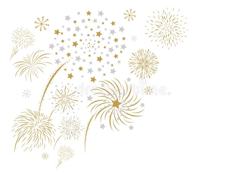 Fireworks design isolated on white background. Vector illustration stock illustration
