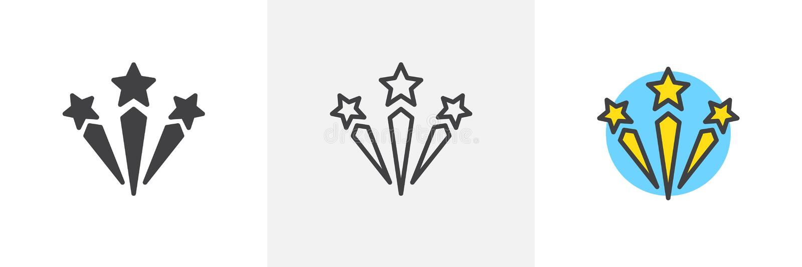 Fireworks different style icons. Fireworks icon. Line, solid and filled outline colorful version, outline and filled vector sign. Pyrotechnics symbol, logo royalty free illustration