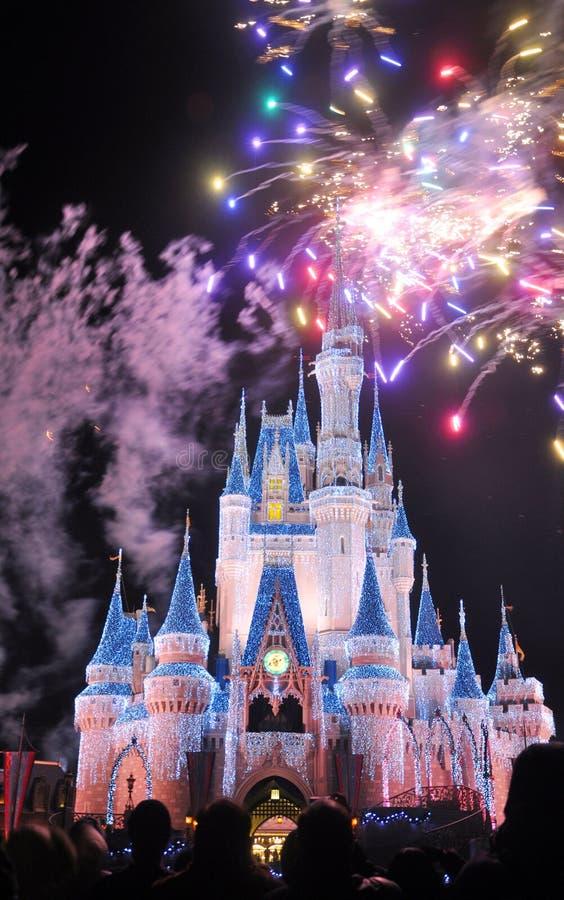 Fireworks at Disney Cinderella Castle royalty free stock photography