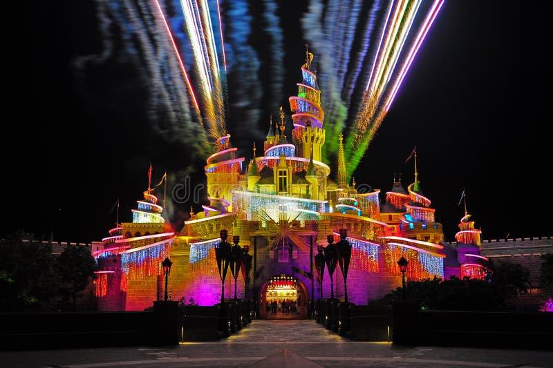 Fireworks at disneyland hong kong royalty free stock photos