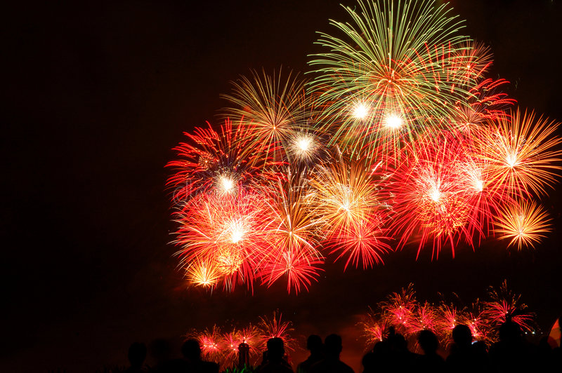 Fireworks display. Grand beautiful fireworks display event royalty free stock photo