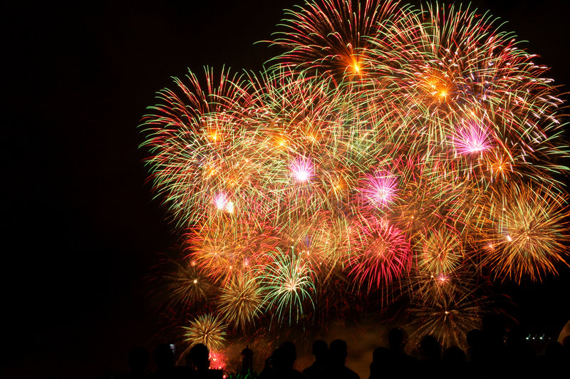Fireworks display. Grand beautiful fireworks display event royalty free stock image