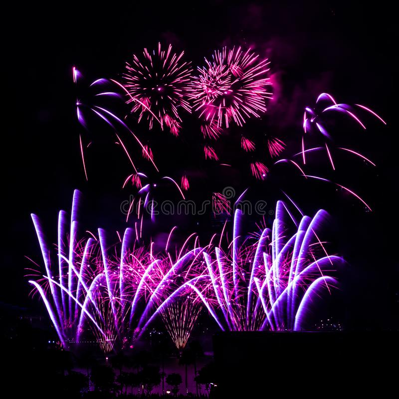 Fireworks display against a dark sky background. royalty free stock photo