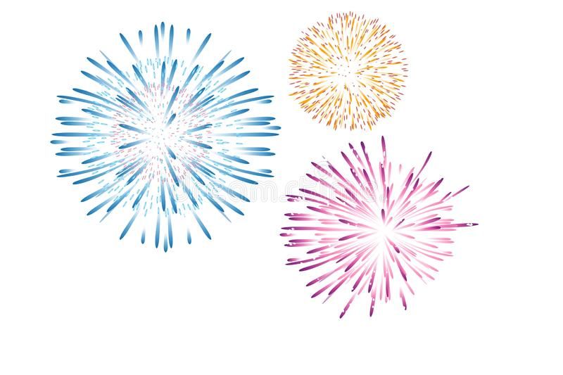 Fireworks display celebration on white background. Illustration design. Anniversary, happy, new, year, colors, graphic, circle, view, art, creative, event royalty free stock photography