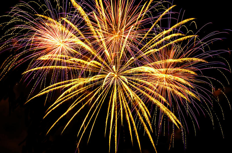 Fireworks display in different shapes and colors stock photo
