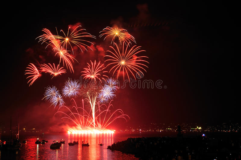 Fireworks display at English Bay stock photos