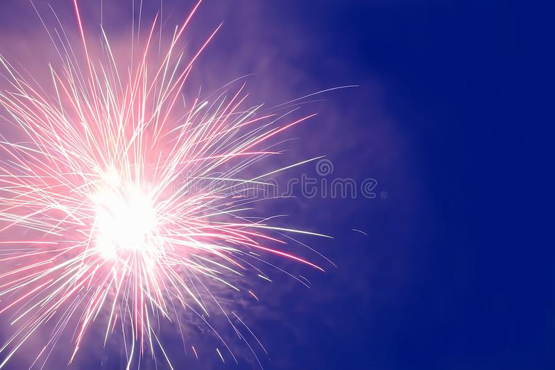 Fireworks Display in the night sky stock image