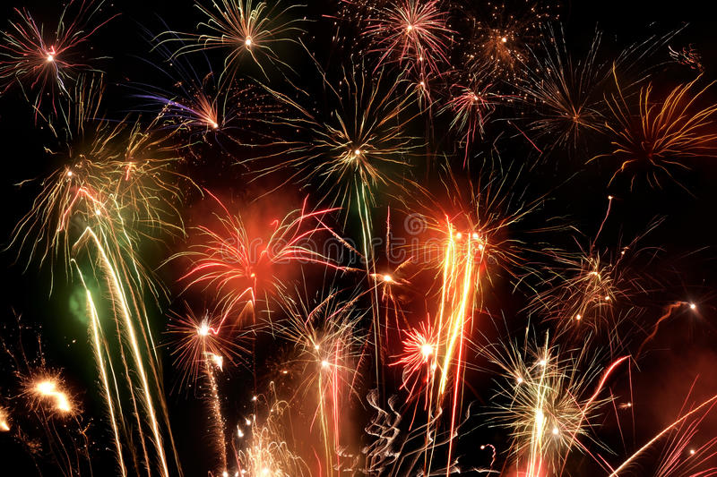 Fireworks display. Great colorful fireworks display at night royalty free stock image