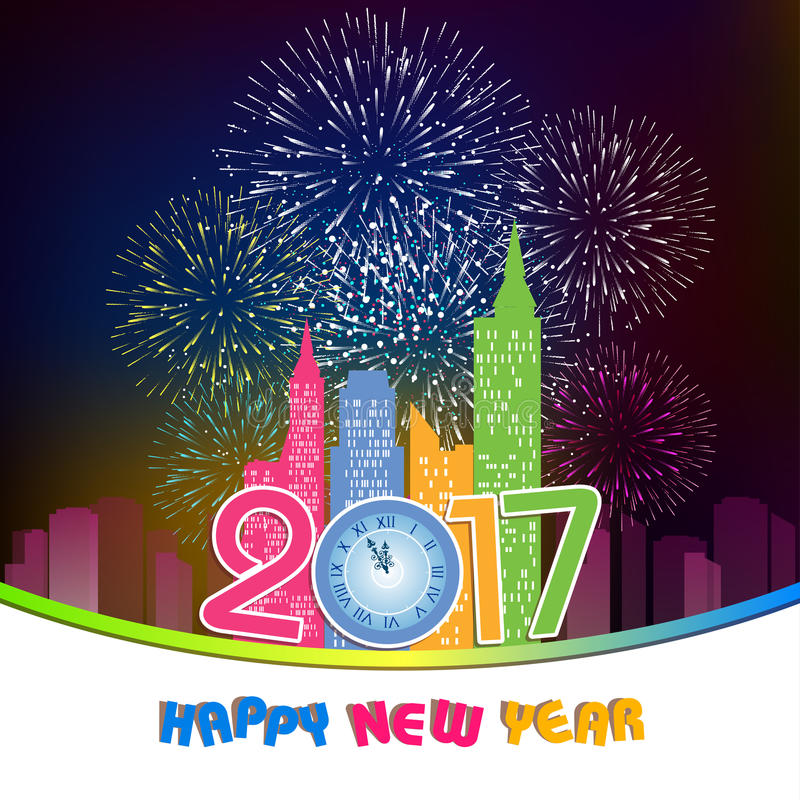 Fireworks display for happy new year 2017 above the city with clock royalty free illustration