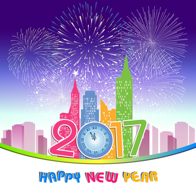 Fireworks display for happy new year 2017 above the city with clock vector illustration