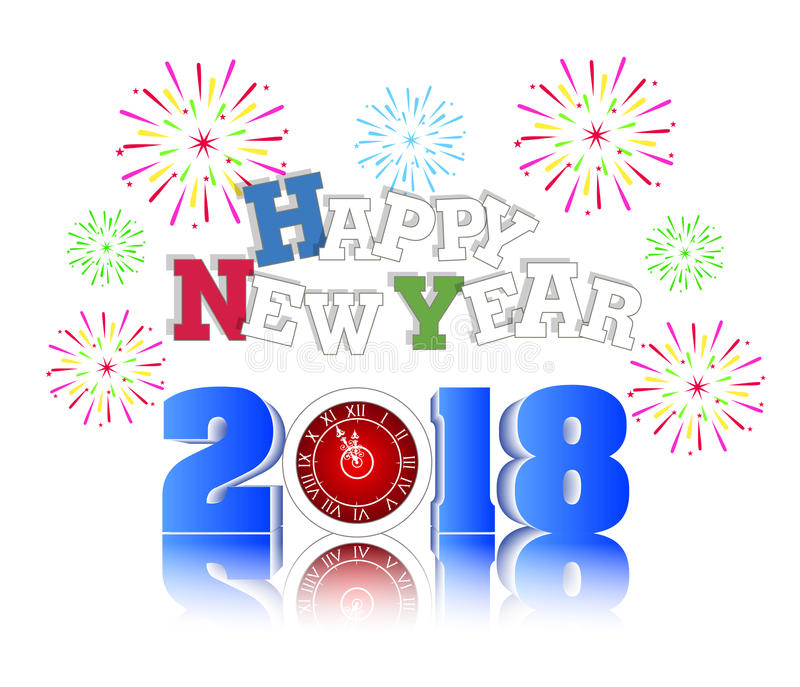 Fireworks display for happy new year 2018 above the city with clock. Vector vector illustration