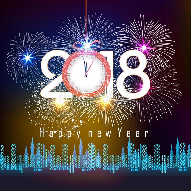 Fireworks display for happy new year 2018 above the city with clock vector illustration