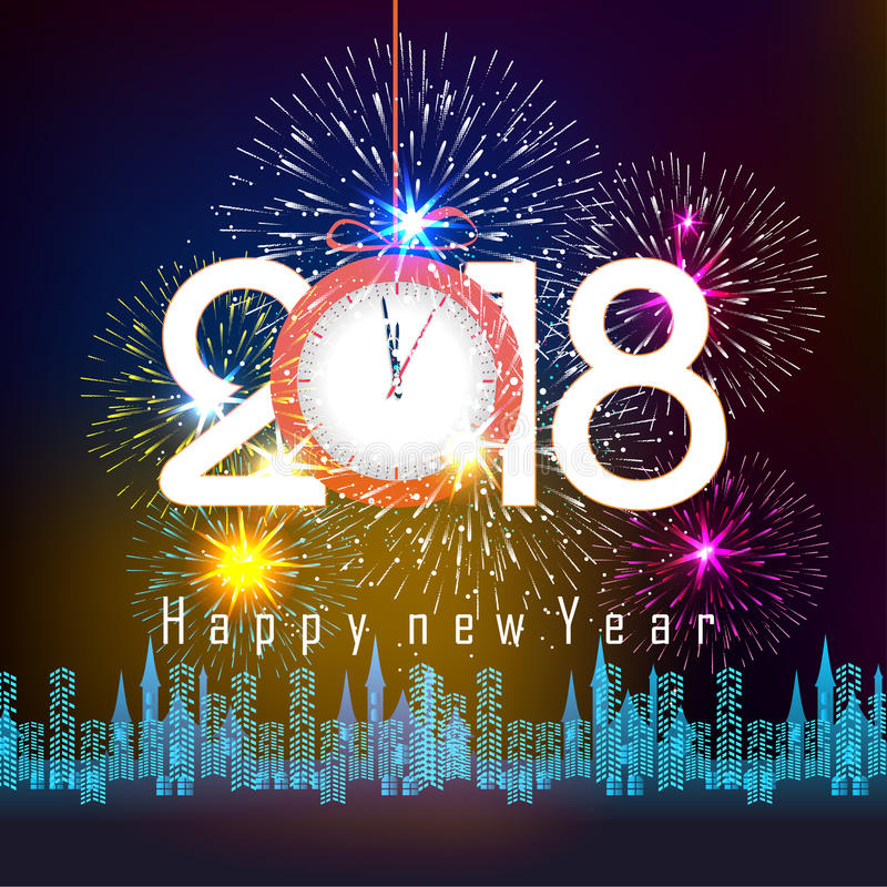 Fireworks display for happy new year 2018 above the city with clock royalty free illustration