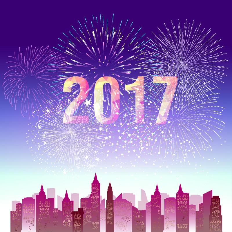 Fireworks display for happy new year 2017 above the city stock illustration