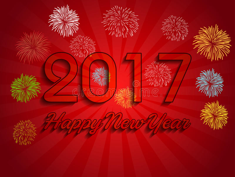 Fireworks display for happy new year 2017 royalty free illustration