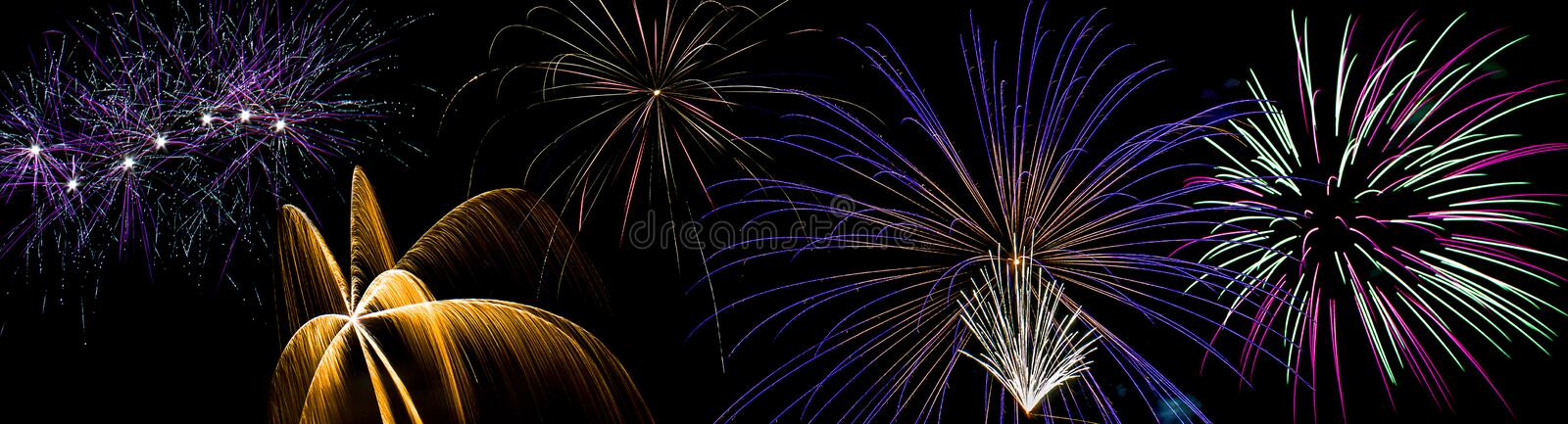 Fireworks Display. A July fireworks display panorama royalty free stock photography