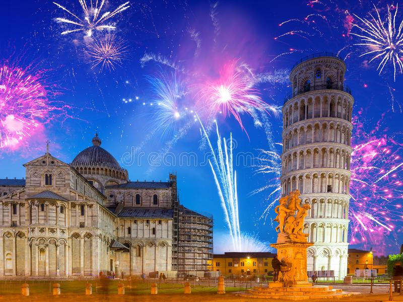 Fireworks display at leaning tower in Pisa royalty free stock image