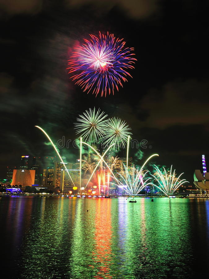 Download Fireworks Display During National Day Parade 2011 Editorial Image - Image of skyline, marina: 20579335