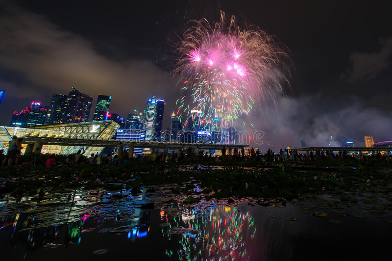 Fireworks display during National Day Parade (NDP) Preview 2014 on August 02, 2014 royalty free stock image