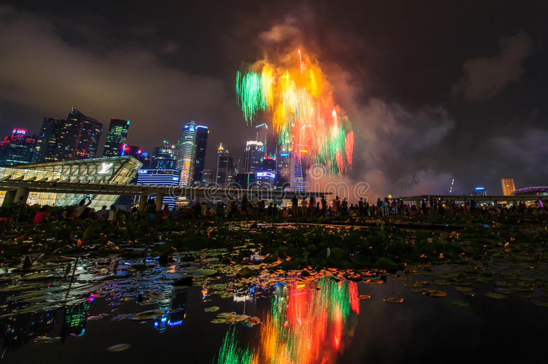 Fireworks display during National Day Parade (NDP) Preview 2014 stock photo