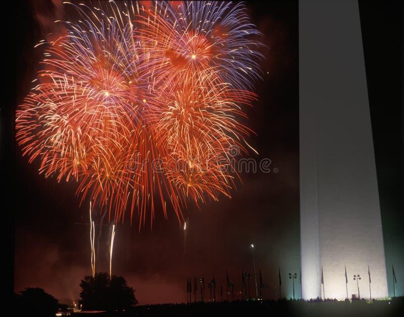 Fireworks display at the National Monument, Washington DC stock photo