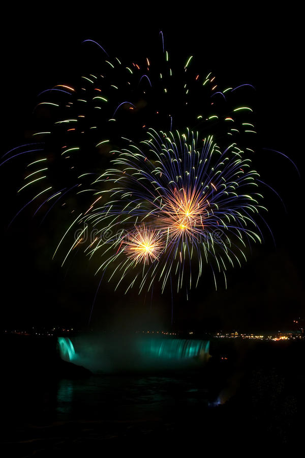 Fireworks display at Niagara Falls. Photographed from the Canadian side royalty free stock photography