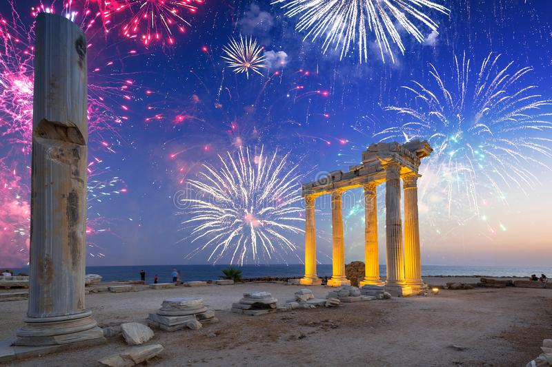 Fireworks display over the temple of Apollo in Side, Turkey royalty free stock photos