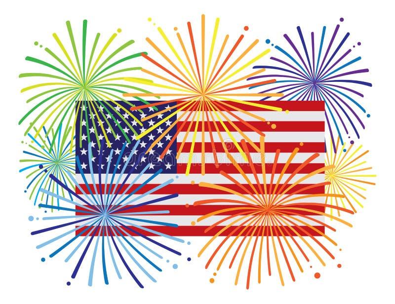 Fireworks over USA American Flag vector Illustration vector illustration