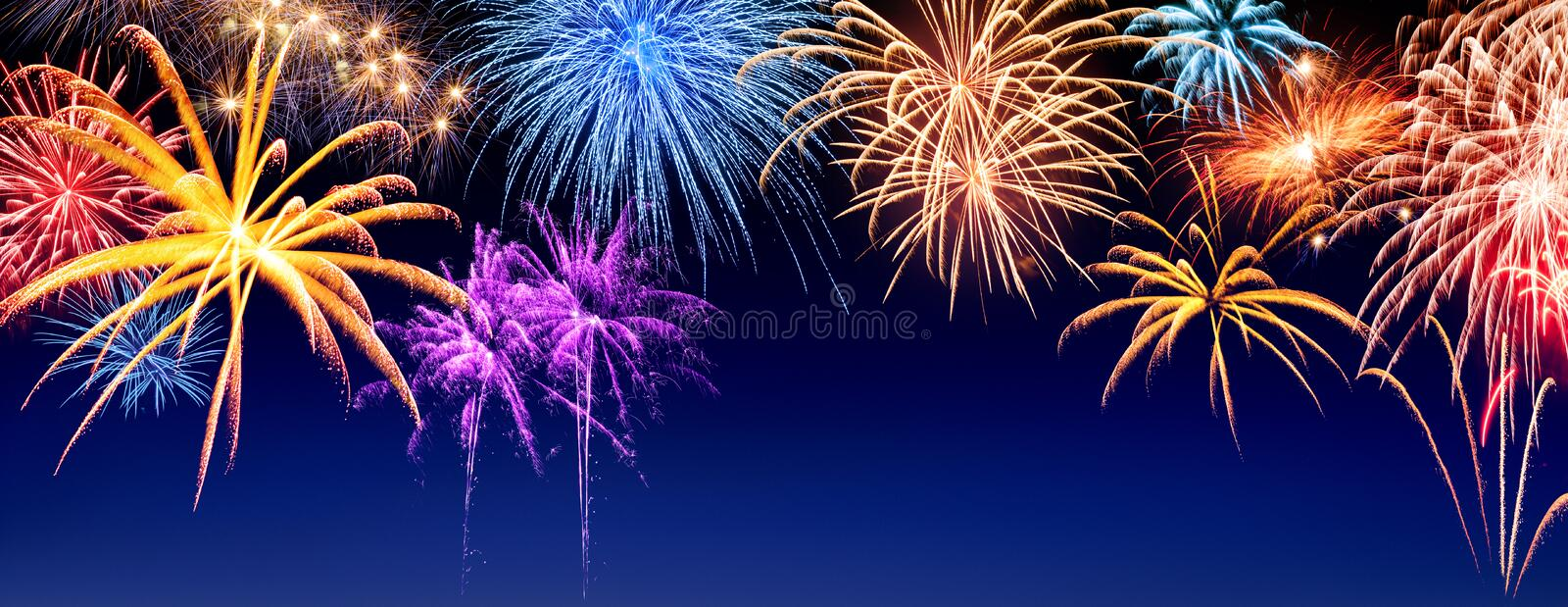 Fireworks display panorama stock images