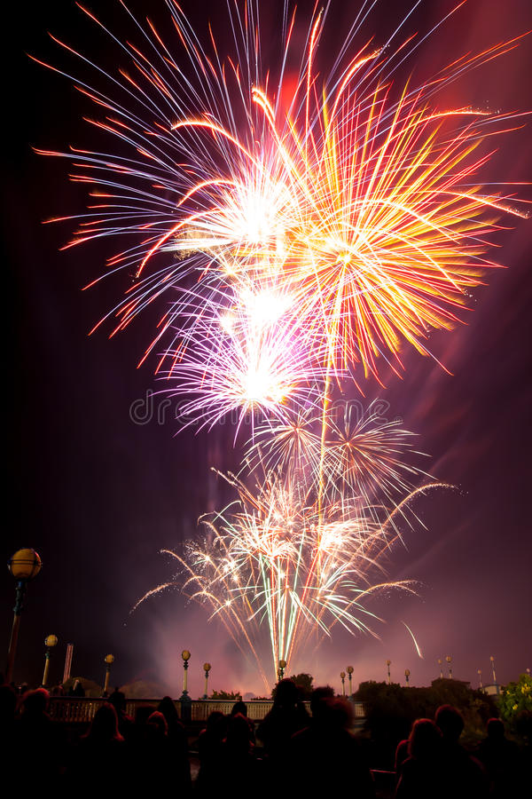 Fireworks display. People watch Fireworks display at Southport UK stock image