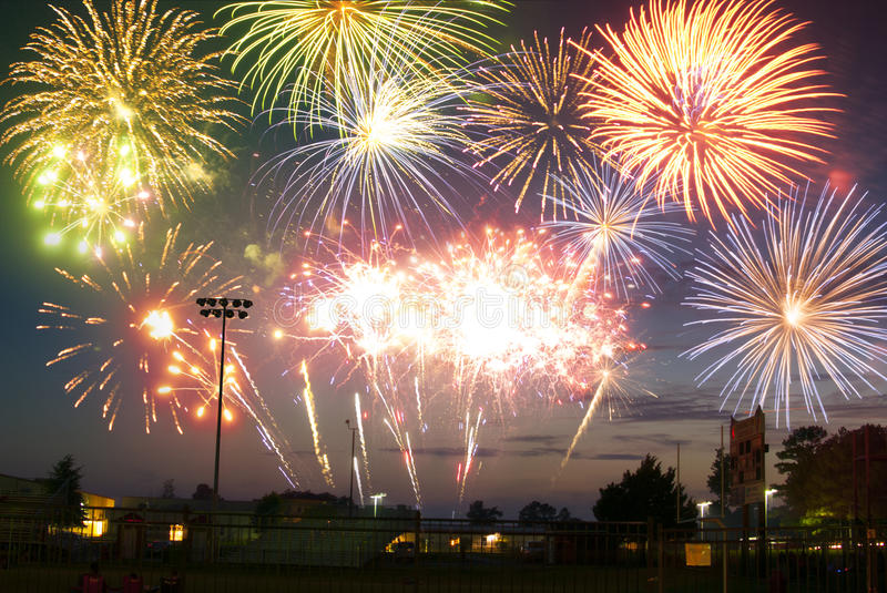 Fireworks display in a small town stock photography