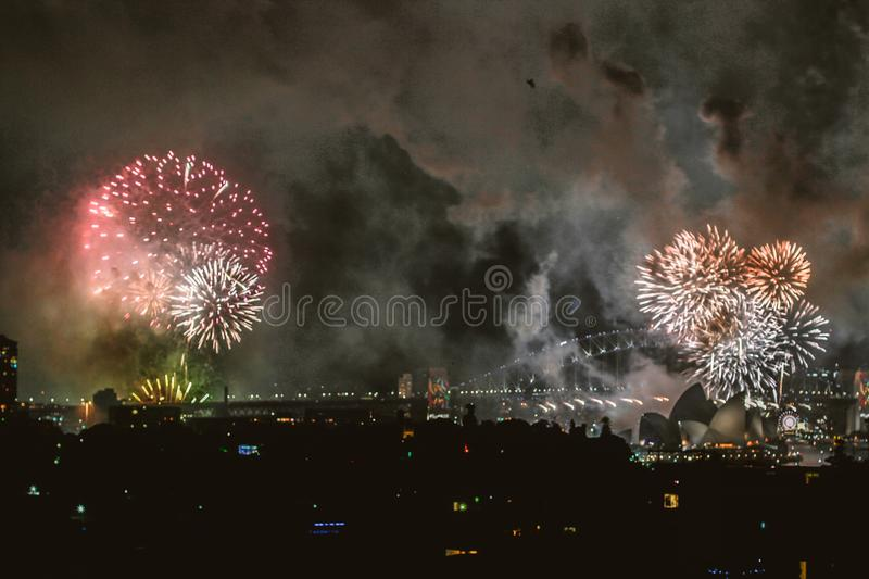 Fireworks Display at Sydney Opera House royalty free stock photography