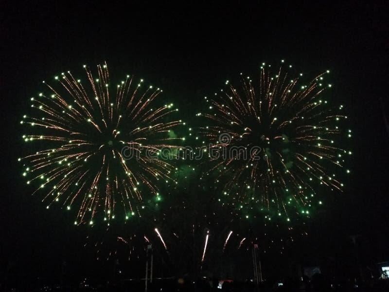 Fireworks display: tandem stock photos