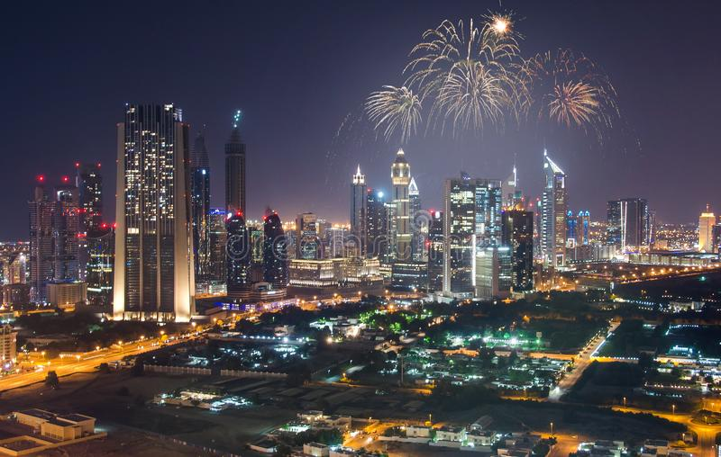 Fireworks display at town square of Dubai downtown royalty free stock photography