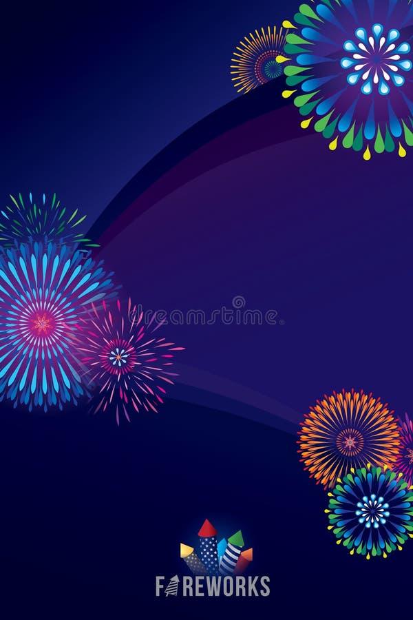 Fireworks display. Vector illustration of colorful fireworks display with explosion of a rocket stock illustration