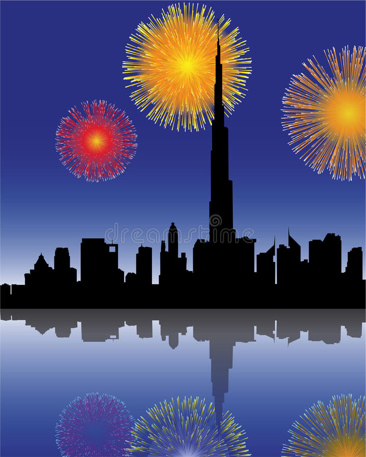 Fireworks in dubai. Fireworks with skyline in dubai royalty free illustration