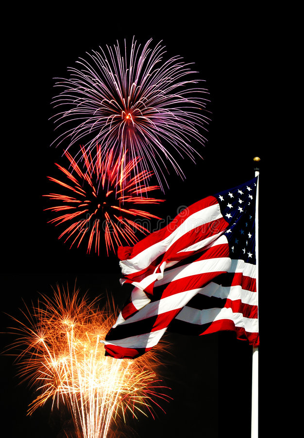 Fireworks e bandeira imagens de stock royalty free