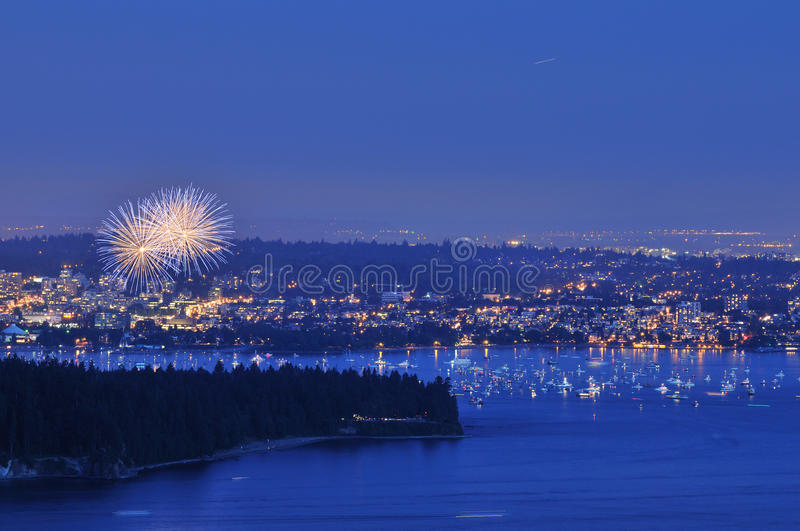 Download Fireworks at english bay stock photo. Image of canada - 12544274
