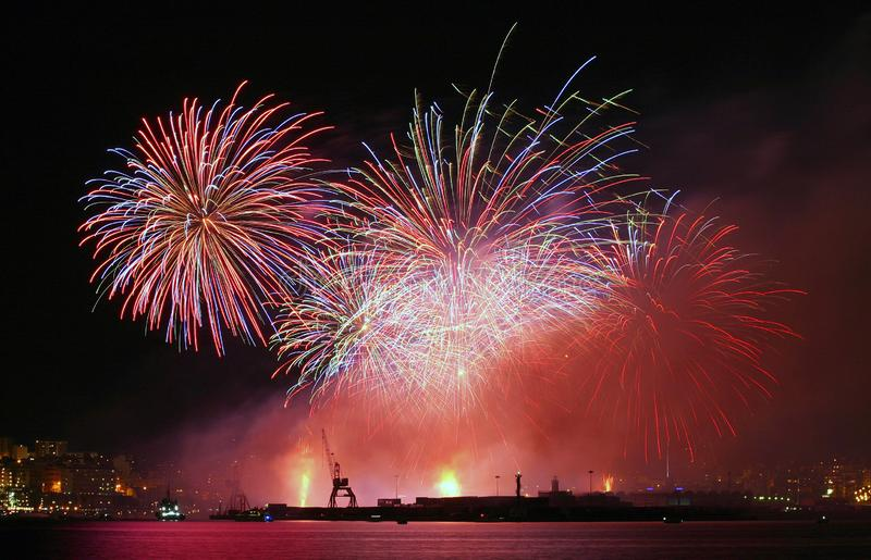 Fireworks during local celebrations in mallorca royalty free stock image