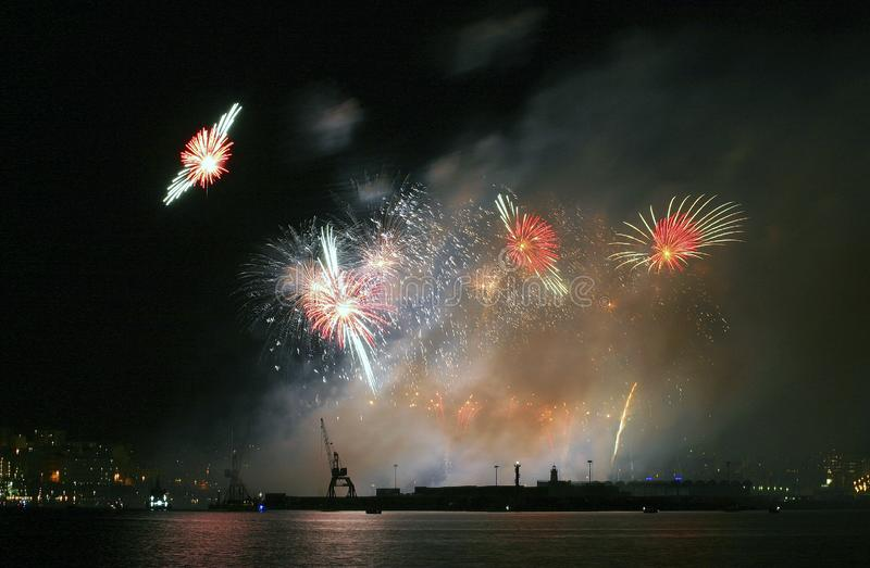 Fireworks during local celebrations in mallorca royalty free stock photography