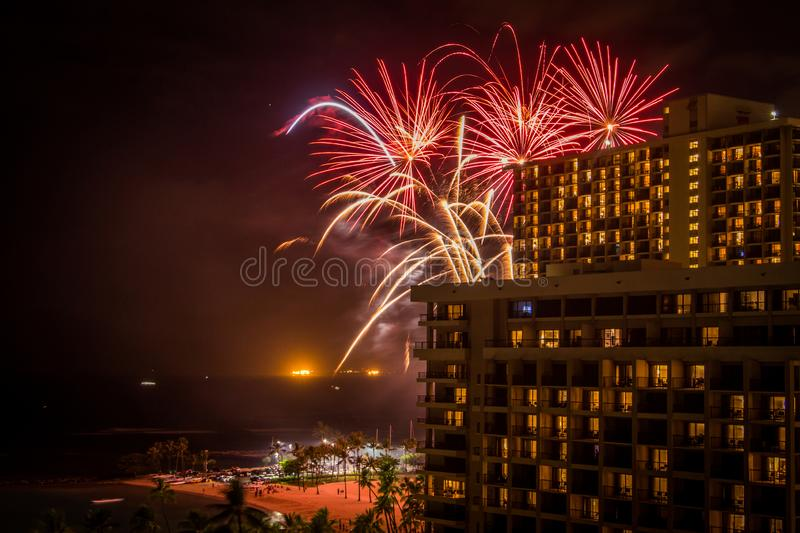 Fireworks Exploding at a Hotel in Hawaii royalty free stock photo