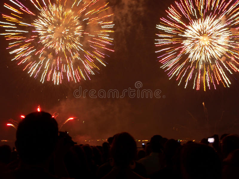 Fireworks. Exploding in the sky pyrotechnics stock image