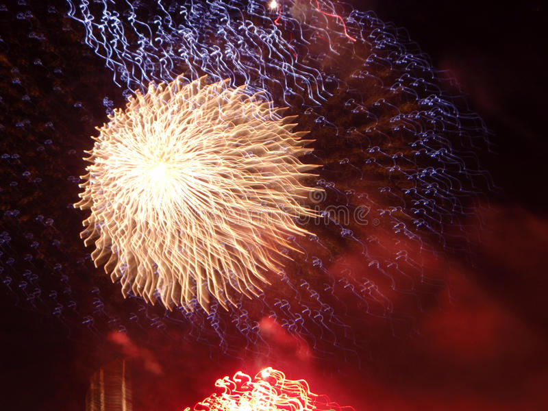 Fireworks. Exploding in the sky pyrotechnics stock photos